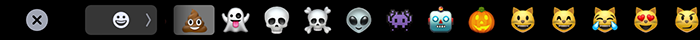 TouchBar showing emojis for text input